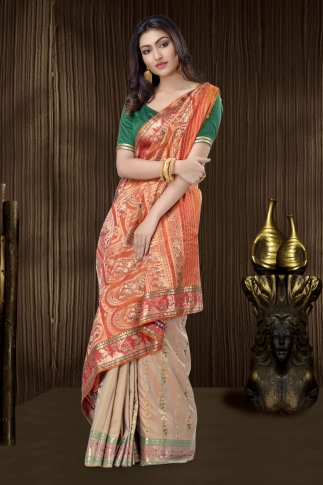 Beige Baluchari Saree With Weaving