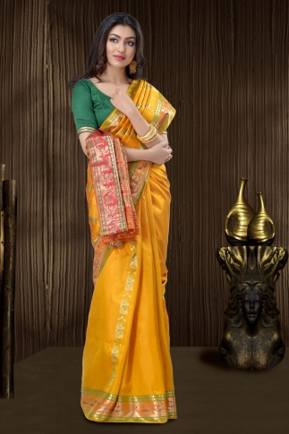 Yellow Baluchari Saree With Weaving