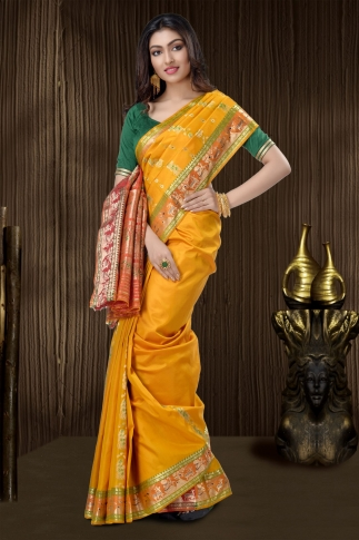 Yellow Baluchari Saree With Weaving 1