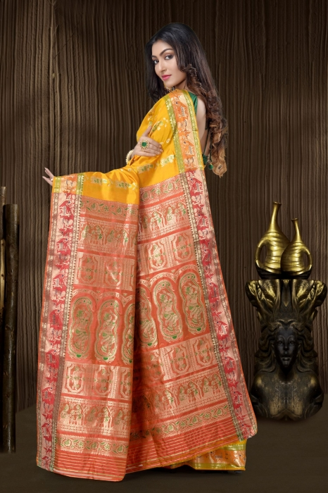 Yellow Baluchari Saree With Weaving 2