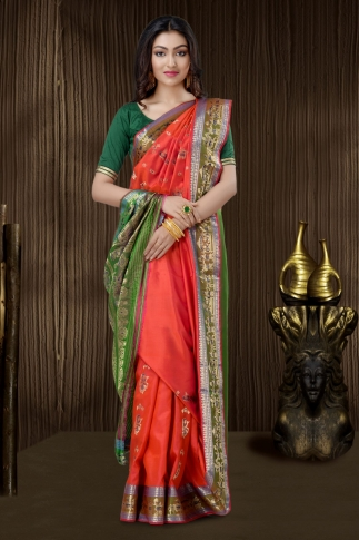 Red Baluchari Saree With Weaving