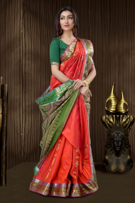 Red Baluchari Saree With Weaving 1