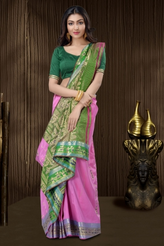 Pink Baluchari Saree And Weaving