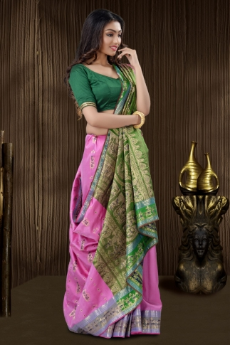 Pink Baluchari Saree And Weaving 1