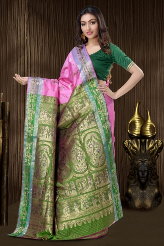 Pink Baluchari Saree And Weaving 2
