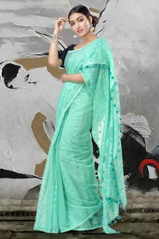 Sea Green Jamdani Saree With Thread Weave 1