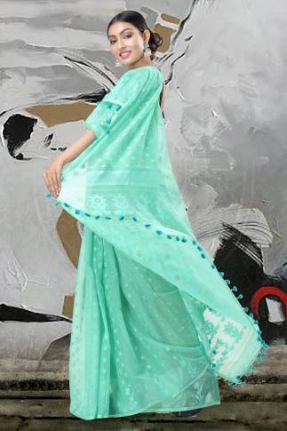 Sea Green Jamdani Saree With Thread Weave 2