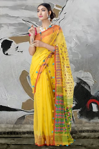 Yellow Jamdani Saree With Thread Weave 1