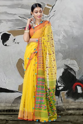Yellow Jamdani Saree With Thread Weave 2