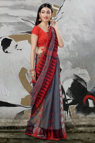 Grey Jamdani Saree With Thread Weave 1