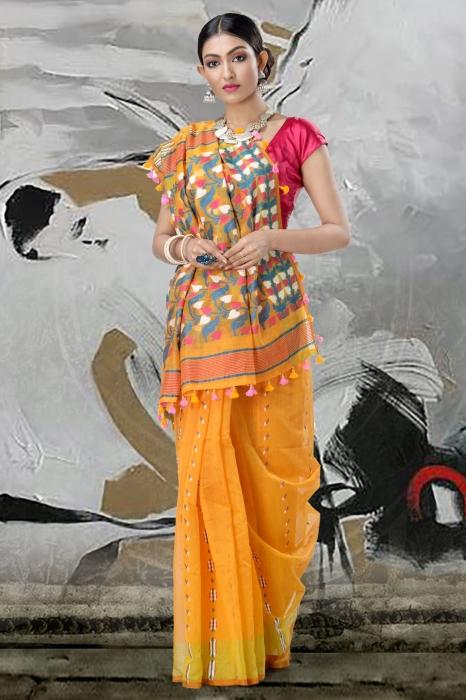 Yellow Jamdani Saree And Thread Weave