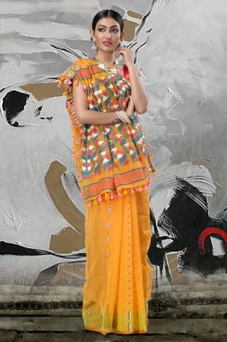 Yellow Jamdani Saree And Thread Weave 1