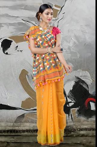 Yellow Jamdani Saree And Thread Weave 2