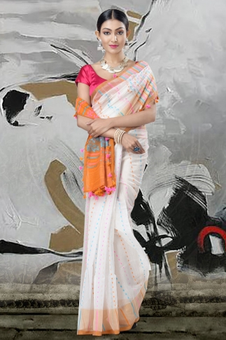 White Jamdani Saree And Thread Weave