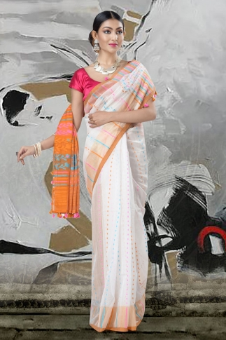 White Jamdani Saree And Thread Weave 1