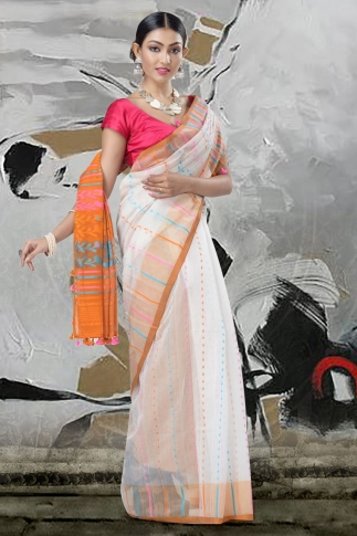White Jamdani Saree And Thread Weave 2
