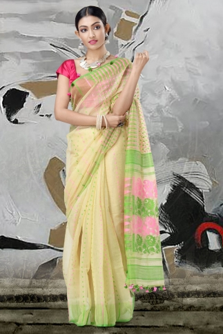 Beige Jamdani Saree With Thread Weave