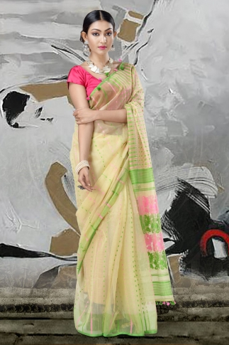 Beige Jamdani Saree With Thread Weave 1