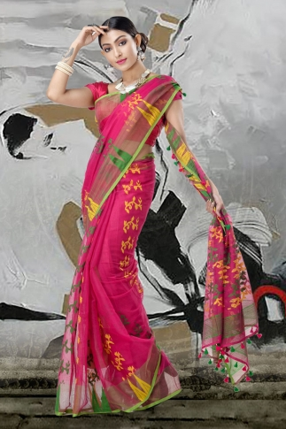 Pink Jamdani Saree And Thread Weave 1
