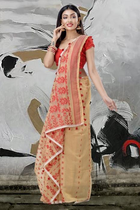 Beige Jamdani Saree And Thread Weave