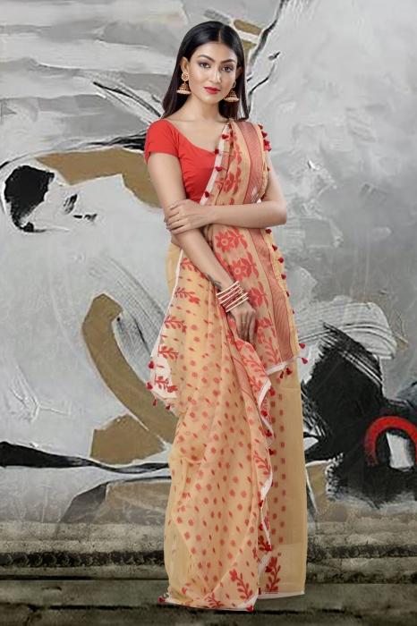 Beige Jamdani Saree And Thread Weave 2