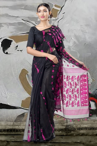 Black Jamdani Saree With Thread Weave