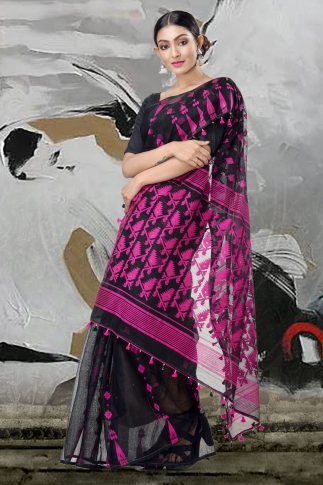 Black Jamdani Saree With Thread Weave 2
