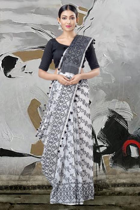 White Jamdani Saree & Thread Weave 1