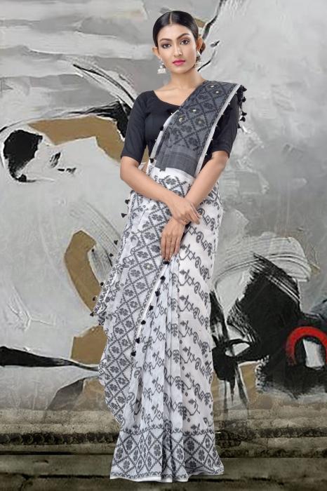 White Jamdani Saree & Thread Weave 2