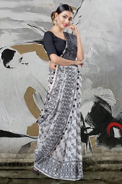 White Jamdani Saree & Thread Weave