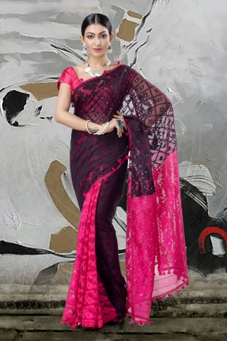 Black & Pink Jamdani Saree With Thread Weave