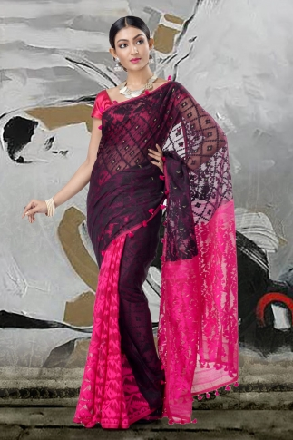 Black & Pink Jamdani Saree With Thread Weave 1
