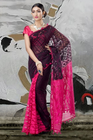 Black & Pink Jamdani Saree With Thread Weave 2