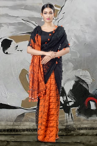 Black & Orange Jamdani Saree With Thread Weave