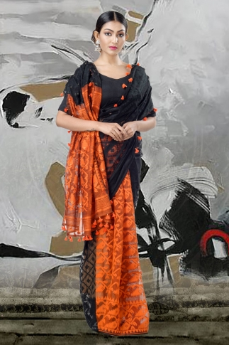 Black & Orange Jamdani Saree With Thread Weave 1