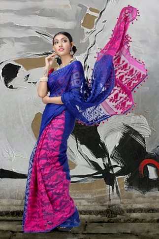 Blue & Pink Jamdani Saree With Thread Weave 1