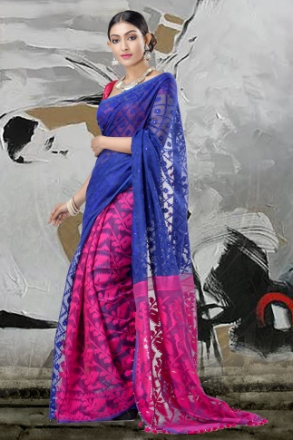 Blue & Pink Jamdani Saree With Thread Weave 2