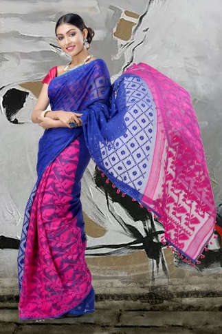 Blue & Pink Jamdani Saree With Thread Weave