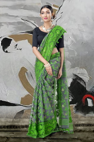 Grey & Green Jamdani Saree With Thread Weave 1