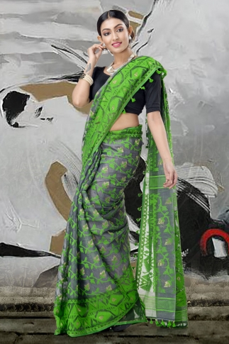 Grey & Green Jamdani Saree With Thread Weave