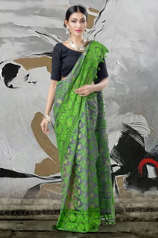 Grey & Green Jamdani Saree With Thread Weave 2