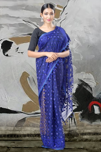 Blue Jamdani Saree With Thread Weave