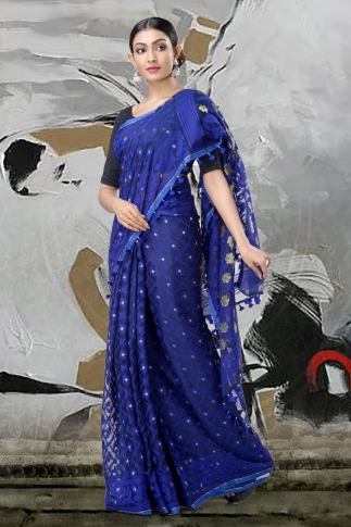 Blue Jamdani Saree With Thread Weave 1