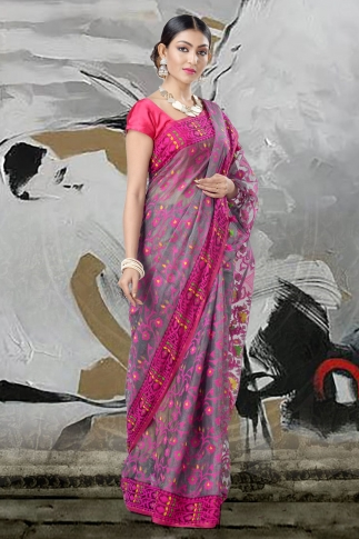Grey And Pink Jamdani Saree With Thread Weave