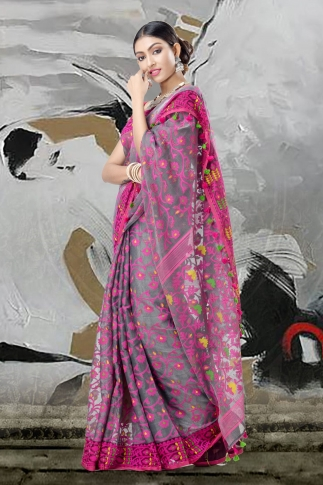 Grey And Pink Jamdani Saree With Thread Weave 2