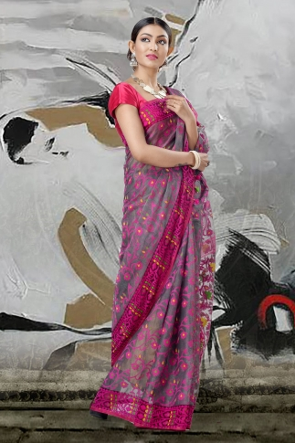 Grey And Pink Jamdani Saree With Thread Weave 1
