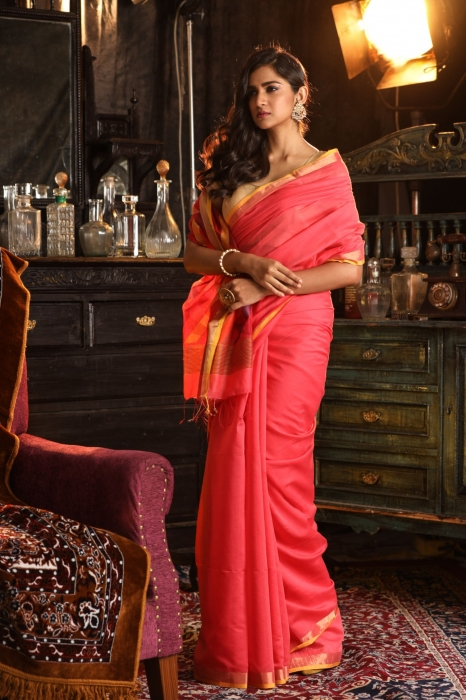 Pure Silk Cotton Handwoven Saree 1