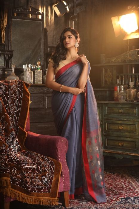 Grey Pure Silk Cotton Handwoven Saree