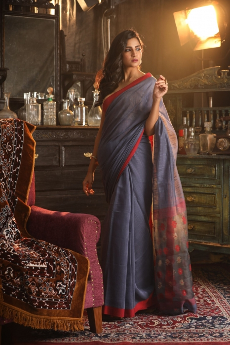 Grey Pure Silk Cotton Handwoven Saree 1