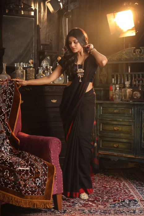 Black Pure Silk Cotton Saree 1